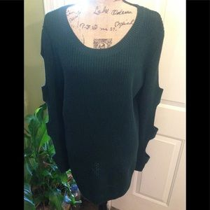 NWOT a.n.a Dark Green Sweater w/Slotted Sleeves